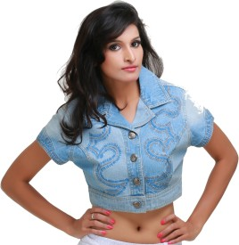 Its Hot Half Sleeve Embroidered Women's Denim Jacket