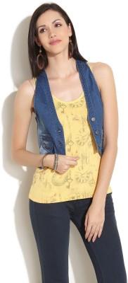 Elle Sleeveless Solid Women's Denim Jacket - Buy Dark Blue Elle