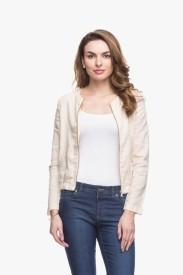 Cotton World Full Sleeve Solid Women's Linen Jacket