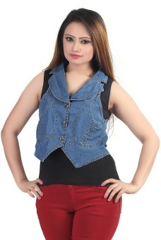 Bfly Sleeveless Solid Women's Denim Denim Jacket