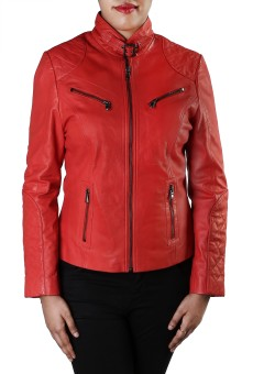 Theo&Ash Baga Red Full Sleeve Solid Women's Quilted Jacket