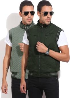 Fort Collins Sleeveless Self Design Men's Reversible Jacket Jacket - JCKEAGGCWGDGZCCG