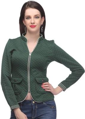 Madame Madame Full Sleeve Geometric Print Women's Jacket (Green)