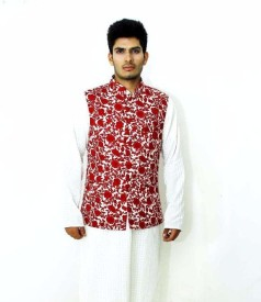 VastraByAshish Sleeveless Graphic Print Men's Jacket