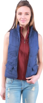 Zupe Short Sleeveless Self Design Women's Quilted Jacket
