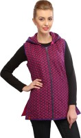 Lavennder Sleeveless Floral Print Women's Quilted Jacket
