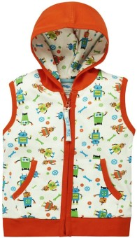 Snuggles Sleeveless Printed Baby Boy's Cotton Hooded Jacket