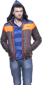 Zovi Brown Quilted Hood With Neon Orange And Navy Highlights Full Sleeve Solid Men's Quilted Jacket