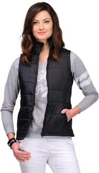 Yepme Black Sleeveless Solid Women's Quilted Jacket