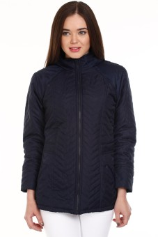 Mustard Navy Blue Full Sleeve Solid Women's Quilted Jacket