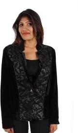 GnC Full Sleeve Self Design Women's Velvet Jacket