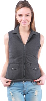 Zupe Fleace Sleeveless Self Design Women's Quilted Jacket