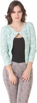 NOD Green 3/4 Sleeve Floral Print Women's Lace Work Jacket