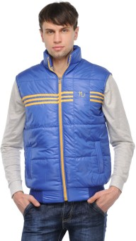 TSX Sleeveless Solid, Striped Men's Quilted Jacket