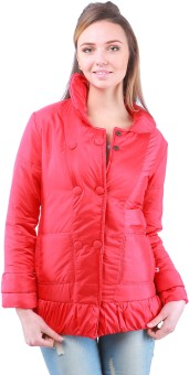 Zupe Button Open Full Sleeve Self Design Women's Quilted Jacket