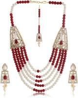 Bling N Beads Designer Mother Of Pearl Jewel Set Red, White, Gold