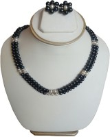 Sri Bansilal Pearls 2line Black Pearls Mother Of Pearl Jewel Set Black