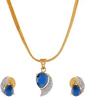 Weldecor Princess Look Stone With American Diamond Pendant With Earrings Alloy Jewel Set Blue, Silver