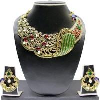 Zaveri Pearls Beautiful Peacock Zinc Jewel Set Green, Red