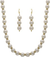 Hyderabad Jewels Fancy Pearl Necklace Set Mother Of Pearl Jewel Set White