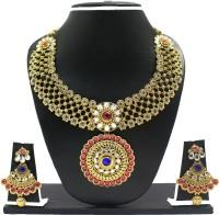 Zaveri Pearls Traditional Necklace Set Zinc Jewel Set Pink