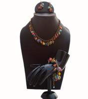 VR Designers Single Strand Beadwork Glass, Metal Jewel Set Multicolor