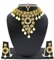 Zaveri Pearls Jodha Necklace Zinc Jewel Set Red