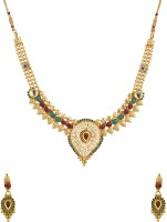Voylla Traditional Gold Plated Adorned With CZ And Colored Stones Alloy Jewel Set Gold