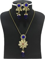 Zaveri Pearls Golden Flower Pendant Alloy Jewel Set Blue, Pink