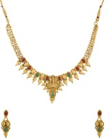 Voylla Temple Theme Traditional Gold Plated Adorned With CZ And Colored Stones Alloy Jewel Set Gold