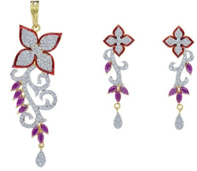 Shree Ambica Pearls & Jewellers Cz Red Pendant Alloy Jewel Set available at Flipkart for Rs.1817