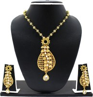Zaveri Pearls Attractive Matte Finish Luscious Leaf Zinc Jewel Set Gold, Black