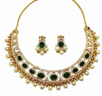 Sempre Of London Green Emerald Designer Alloy Jewel Set Gold