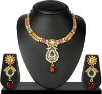 VK Jewels Beautiful Traditional Brass Jewel Set Gold