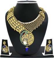 Zaveri Pearls Traditional Enamelling Peacock Necklace Zinc Jewel Set Green, Blue