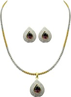 Jpearls Zirconia Modern Silver Jewel Set Brown