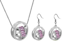 Crunchy Fashion Fall In Love Alloy Jewel Set Pink, Silver