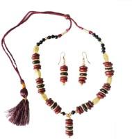 Alekip Traditional Indian Wood Jewel Set Red, Black