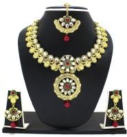 Zaveri Pearls Dulhan Necklace Zinc Jewel Set Red, Green