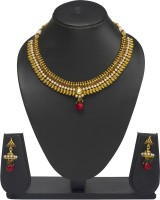 VK Jewels Decent Traditional Brass Jewel Set Gold