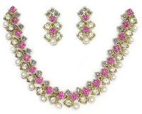 Zaveri Pearls Cubical Modern Zinc Jewel Set Pink, White, Blue