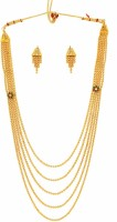 Zaveri Pearls Traditional Haram Gold Look Alloy Jewel Set (Gold, Red)