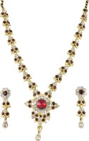 Tanya Fashion Stunning Flower Design Metal Jewel Set (Gold, Red, White, Multicolor)