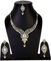 Shining Diva Kundan Alloy Jewel Set (White, Gold)