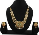 Zaveri Pearls KUNDAN NECKLACE SET IN ANTIQUE FINISH. Alloy Jewel Set - Green, Red
