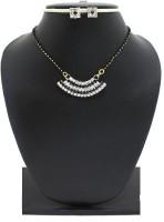 Zaveri Pearls Swing Mangalsutra Zinc Jewel Set Black, White