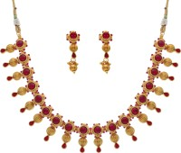 Pearls Cart Kempu Stone Studded Traditional Necklace Alloy Jewel Set Red, Gold