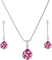 Sempre Of London Pink Divine Circle Alloy Jewel Set Silver