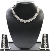 Zaveri Pearls Austrian Diamond Necklace Set Zinc Jewel Set Silver