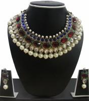 Zaveri Pearls Pearl Drop Necklace Zinc Jewel Set Red, Green